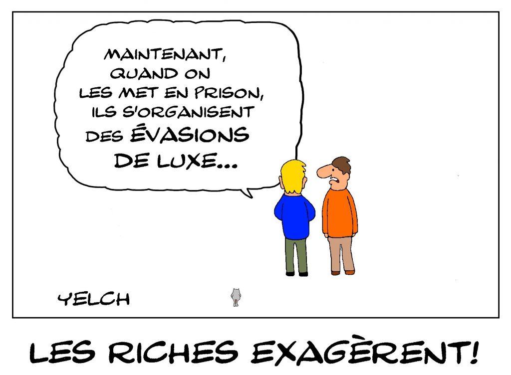 dessin de Yelch sur l'évasion et la fuite de Carlos Ghosn du Japon