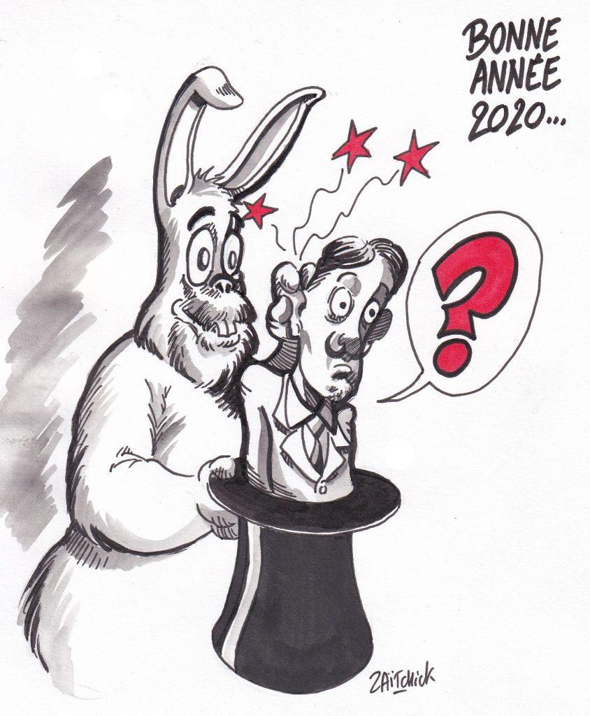 dessin humoristique de Zaïtchick sur la nouvelle année 2020