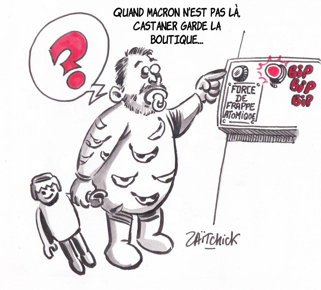 Dessin de Christophe Castaner bébé qui s'approche du bouton de la force de frappe nucléaire