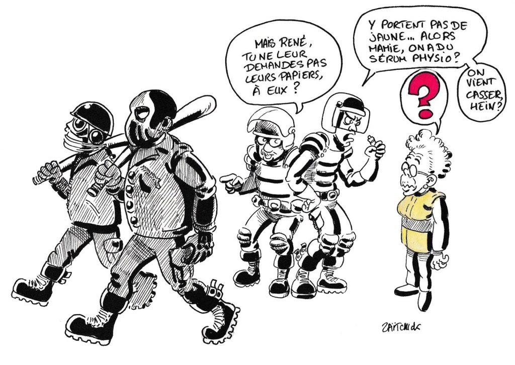 dessin humoristique de Zaïtchick sur l'attitude des CRS face aux Black Blocs et face aux gilets jaunes