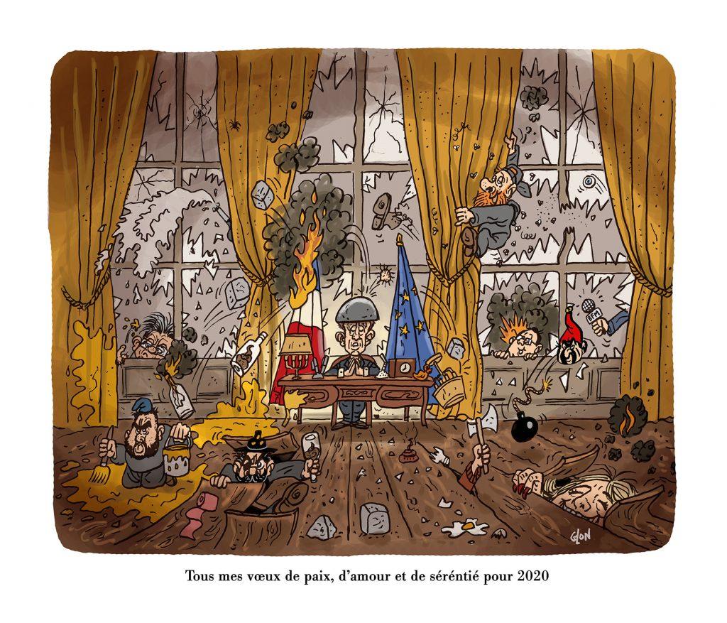 dessin humoristique de Glon sur Emmanuel Macron et la nouvelle année 2020