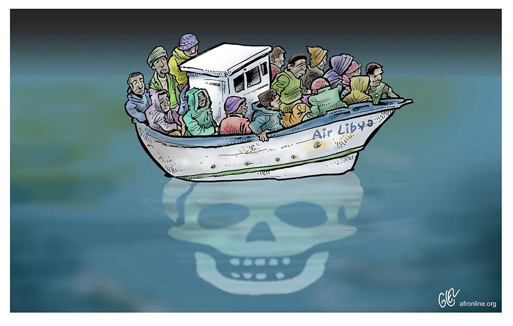 dessin humoristique de Glez les noyades de migrants tentant d'atteindre l'Europe