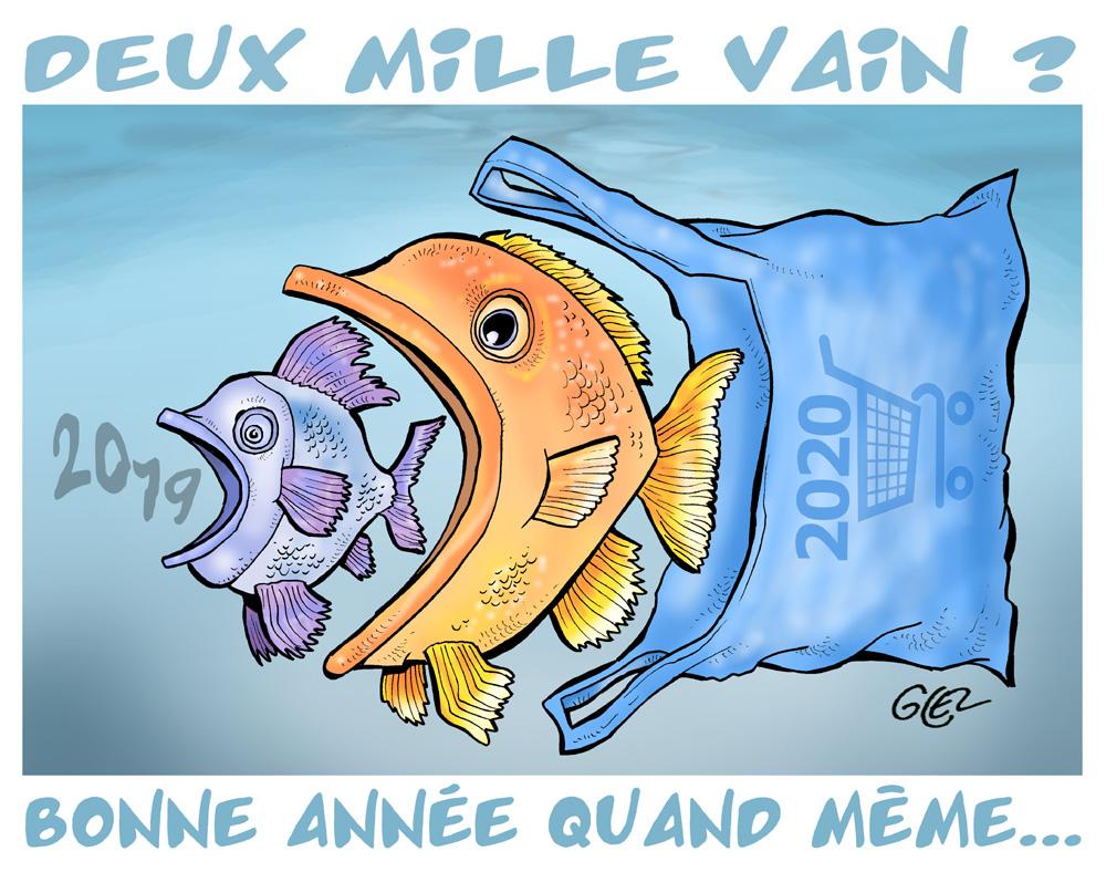 dessin humoristique de Glez sur l'année 2020 et la pollution plastique