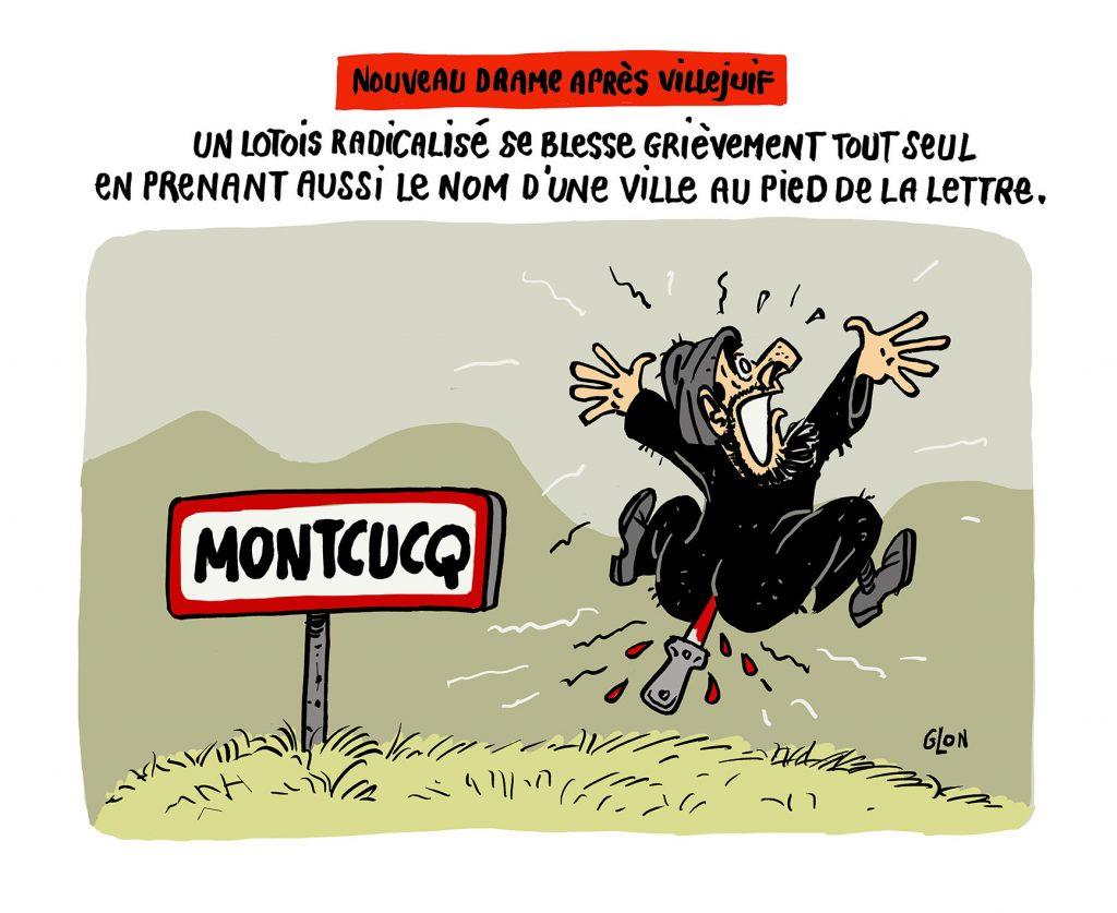 dessin humoristique de Glon sur l'attentat au couteau de Villejuif