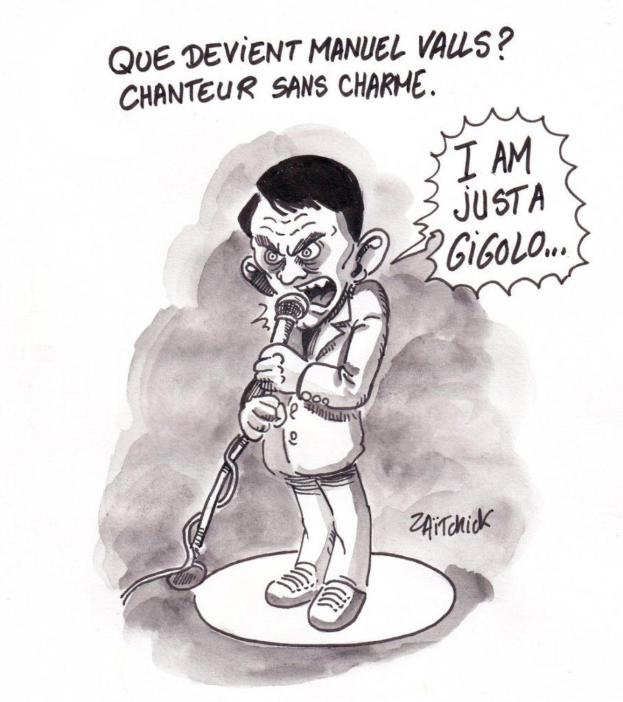 dessin de Zaïtchick sur Manuel Valls chanteur de charme