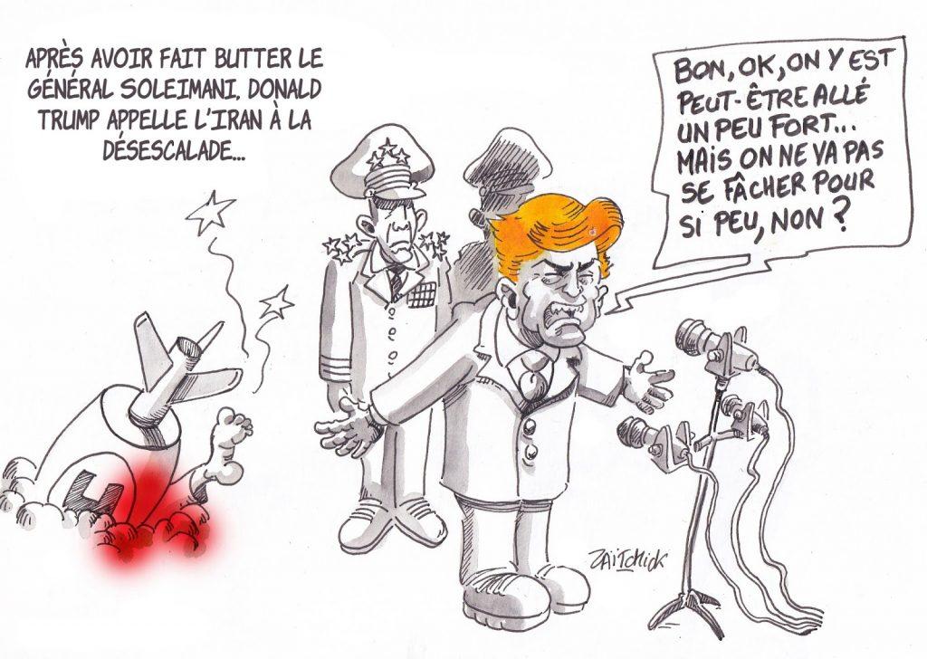 dessin de Zaïtchick sur Donald Trump qui minimise l'assassinat du général Soleimani