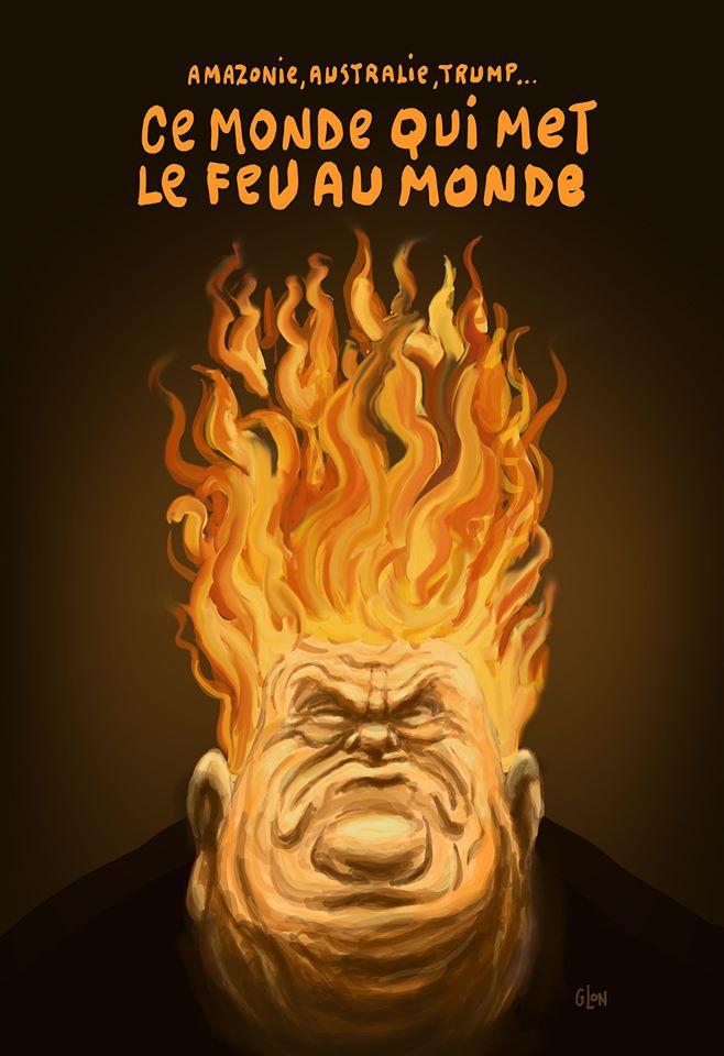 dessin humoristique de Glon sur les incendies et les incendiaires de l'année 2020