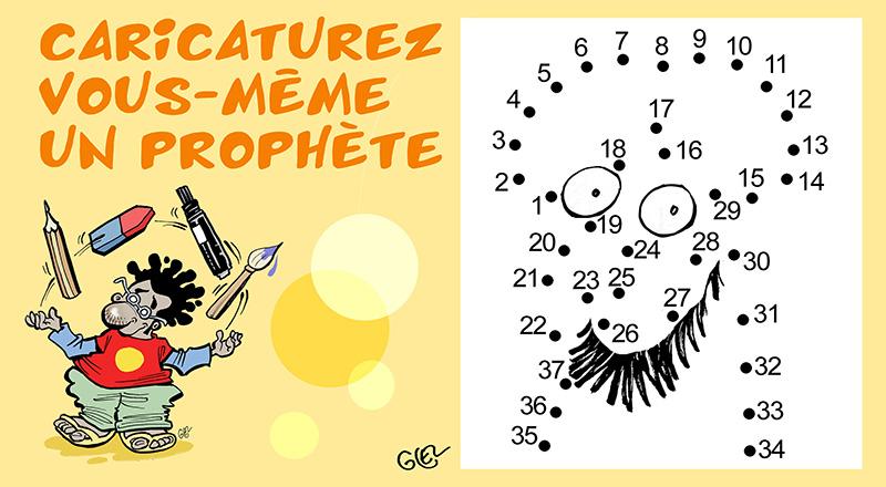 dessin humoristique de Glez sur l'anniversaire de l'attentat de Charlie Hebdo et les caricatures de prophètes