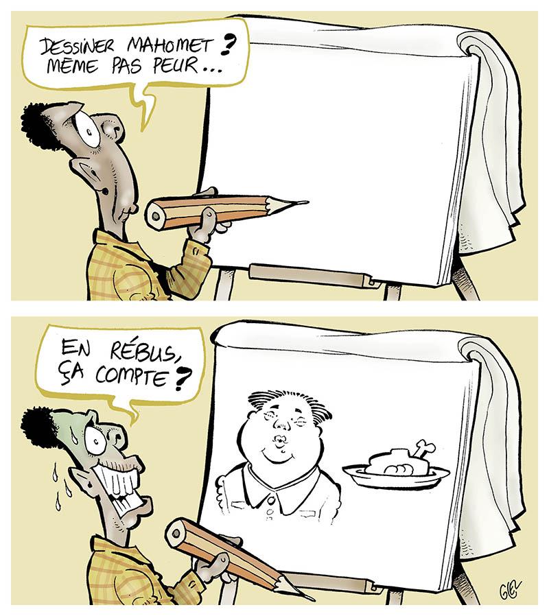 dessin humoristique de Glez sur l'anniversaire de l'attentat de Charlie Hebdo et les dessins de Mahomet