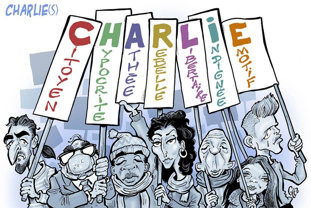 dessin humoristique de Glez sur l'anniversaire de l'attentat de Charlie Hebdo