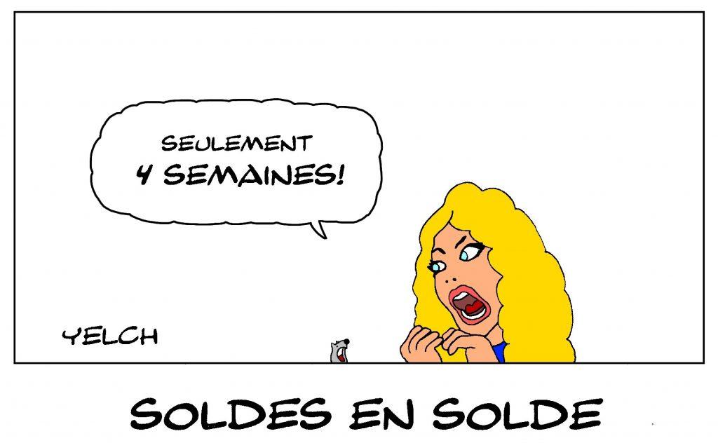 dessin de Yelch sur les femmes, la durée des soldes et les accros du shopping