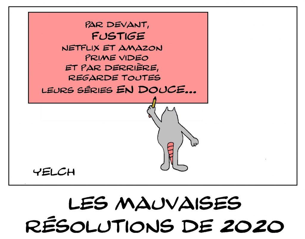 dessin de Yelch sur les bonnes résolutions de la nouvelle année 2020