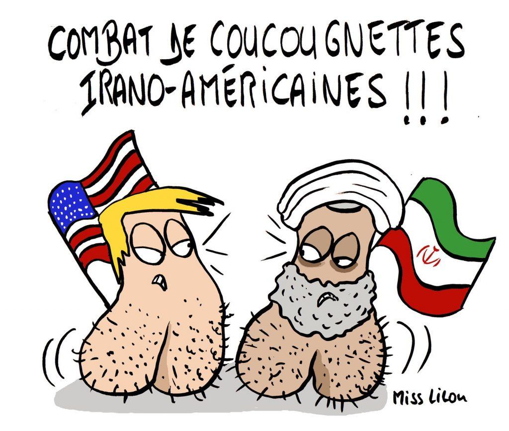 dessin de Miss Lilou sur les tensions entre l'Iran et les États-Unis