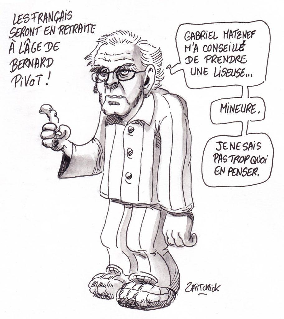 dessin de Zaïtchick sur Bernard Pivot dans une maison de retraite et l'âge pivot de la retraite