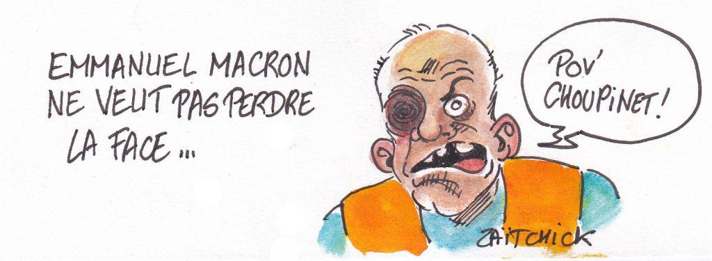 dessin de Zaïtchick sur un gilet jaune défiguré qui a perdu la face physiquement et Emmanuel Macron qui ne veut pas perdre la face sur la réforme des retraites