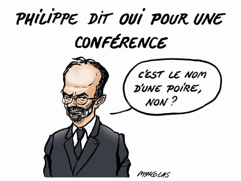dessin d'actualité humoristique de Mykolas sur la proposition d'Édouard Philippe d'une conférence sur la réforme des retraites