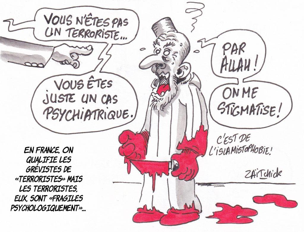 dessin de Zaïtchick sur un expert qui déclare fou un terroriste