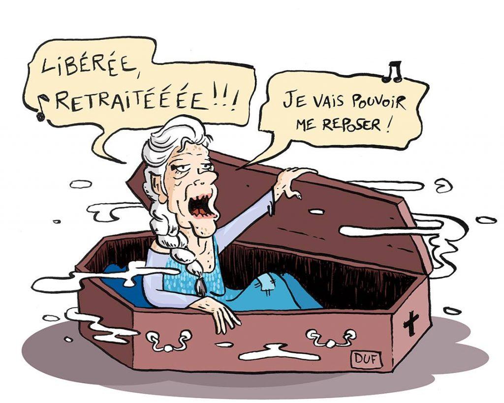 dessin d'actualité humoristique de Duf sur la réforme des retraites