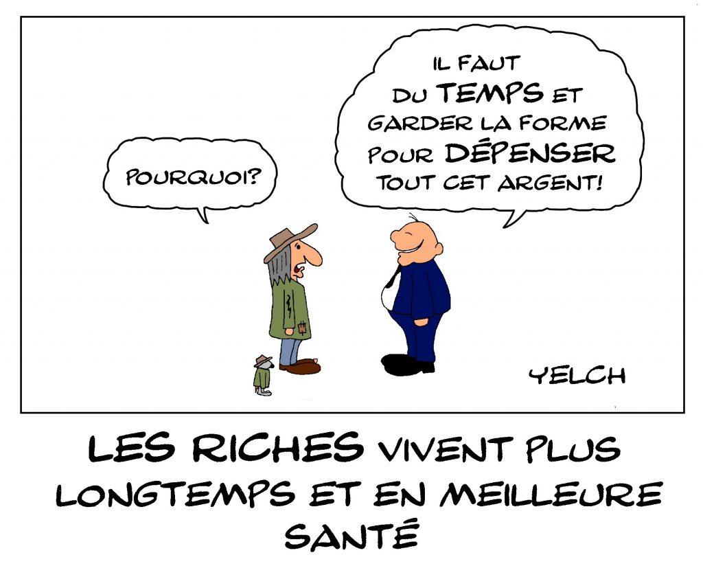 dessin de Yelch sur l'inégalité de la longévité entre pauvres et riches