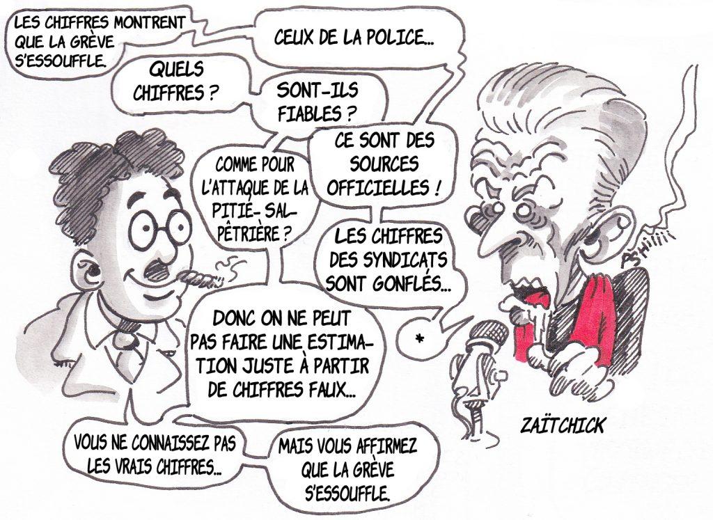 dessin de Zaïtchick sur Groucho et Christophe Barbier commentant les chiffres de la grève