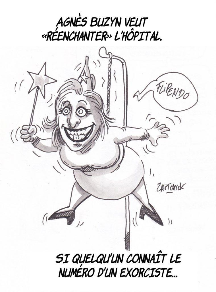 dessin de Zaïtchick sur Agnès Buzyn qui réenchante l'hôpital public