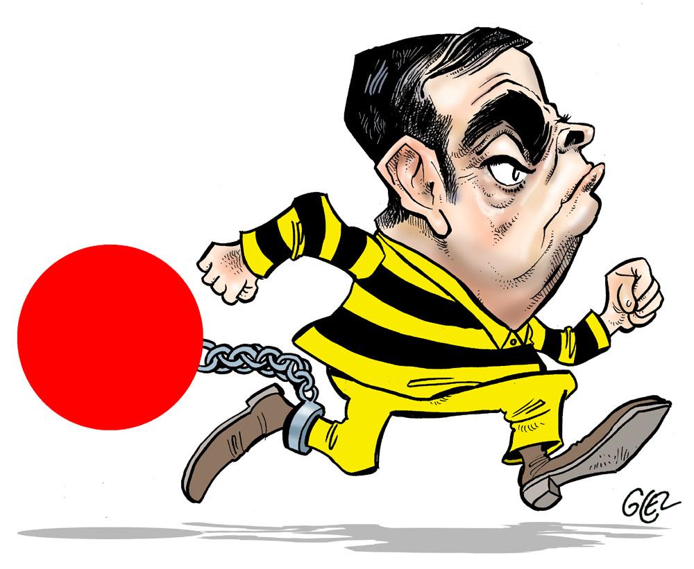 dessin humoristique de Glez sur l'évasion et la fuite de Carlos Ghosn
