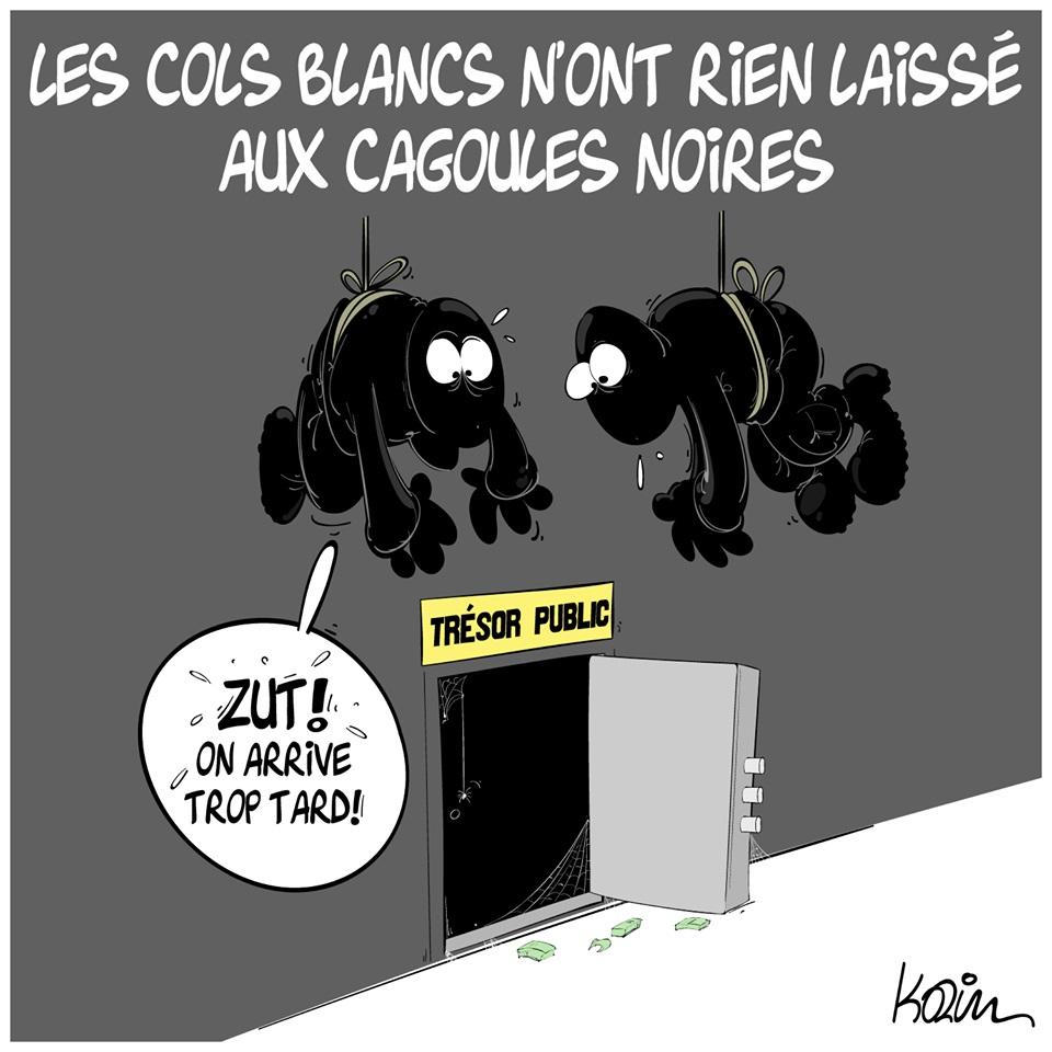 dessin d'actualité humoristique de Karim sur l'état du Trésor Public en Algérie
