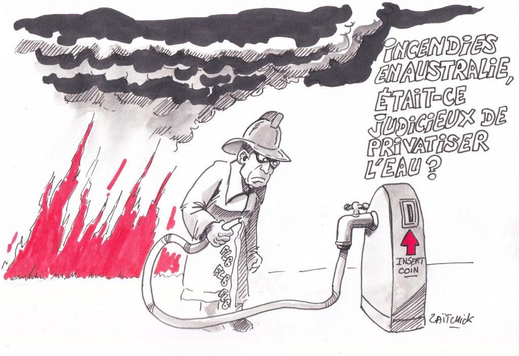 dessin de Zaïtchick sur les incendies en Australie