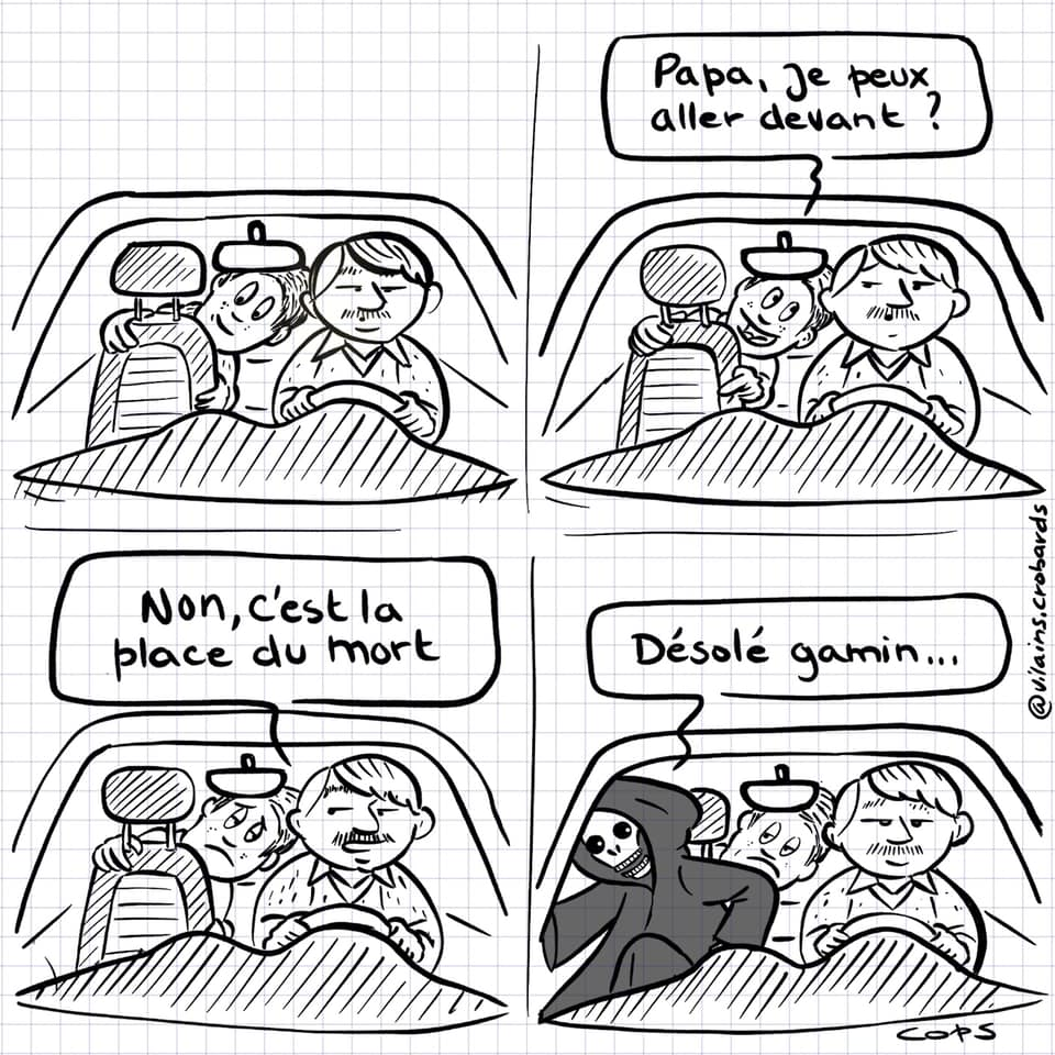 dessin de Cops sur une la place du mort