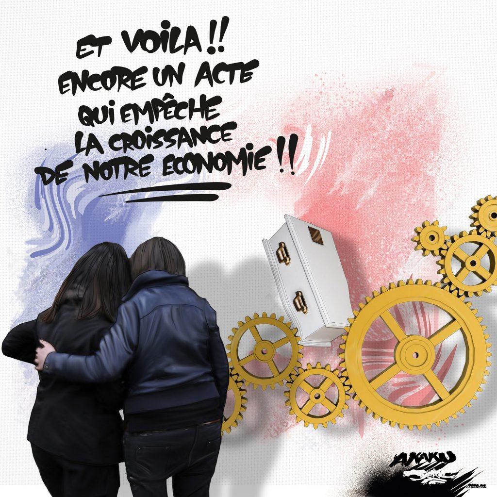 dessin d'actualité humoristique de Jerc sur le vote de l'allongement du congé pour deuil parental