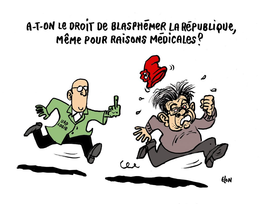 dessin humoristique de Glon sur Jean-Luc Mélenchon, le blasphème et la personne sacrée de la République