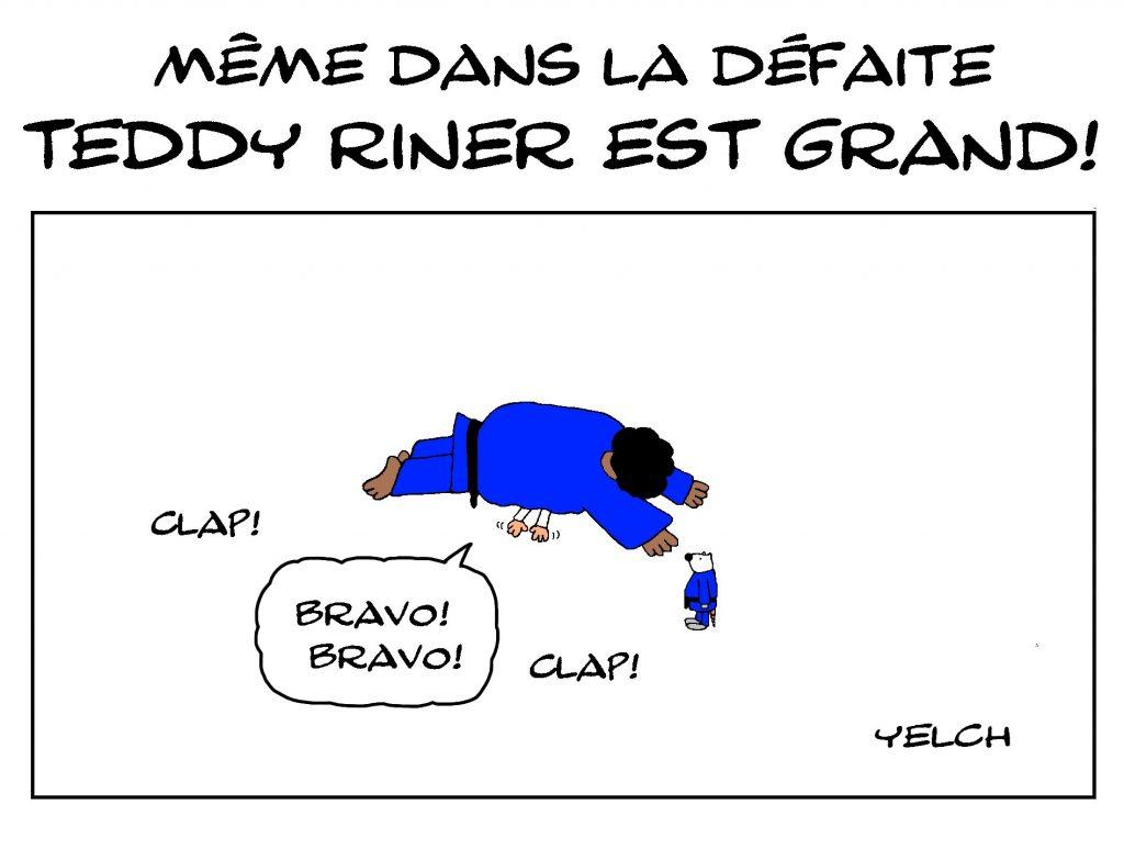 dessin de Yelch sur la défaite de Teddy Riner au judo
