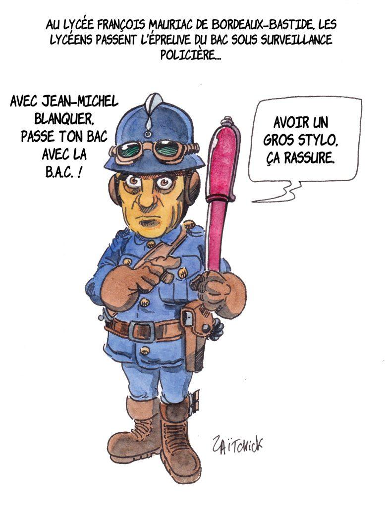 dessin de Zaïtchick sur Bernard Pivot sur le lycée François Mauriac de Bordeaux-Bastide ou les E3C ont été passés sous surveillance policière