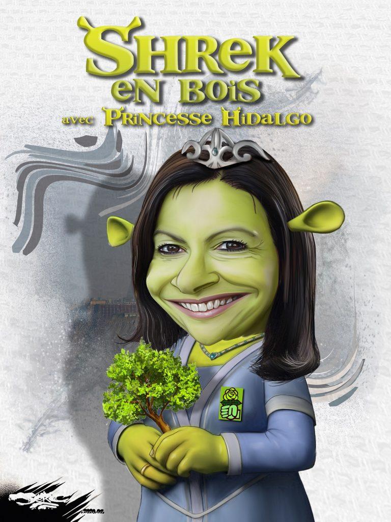 dessin d'actualité humoristique de Jerc sur la candidature d'Anne Hidalgo à la mairie de Paris