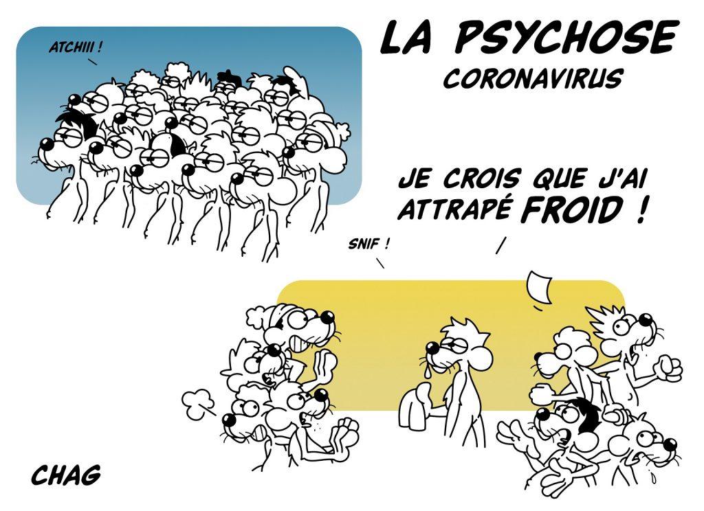 dessin d'humour de Chag sur la psychose déclenchée par l'épidémie du coronavirus Covid-19