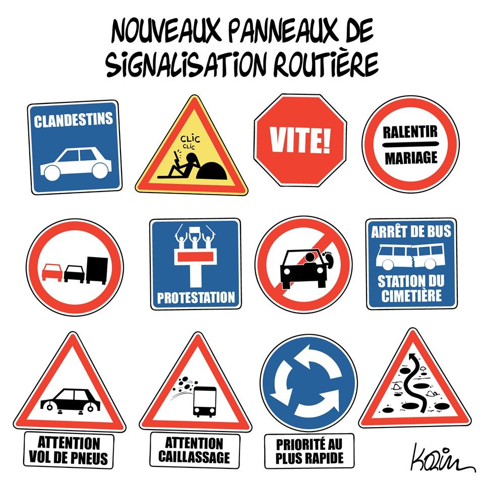 dessin d'actualité humoristique de Karim sur les nouveaux panneaux de signalisation routière
