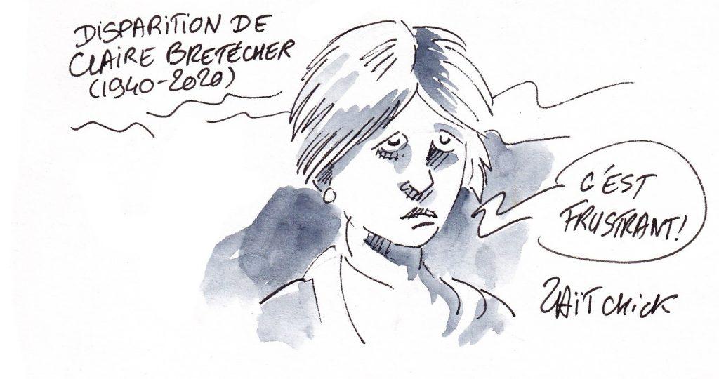 dessin de Zaïtchick sur Claire Bretécher frustrée et sur la disparition de Claire Bretécher