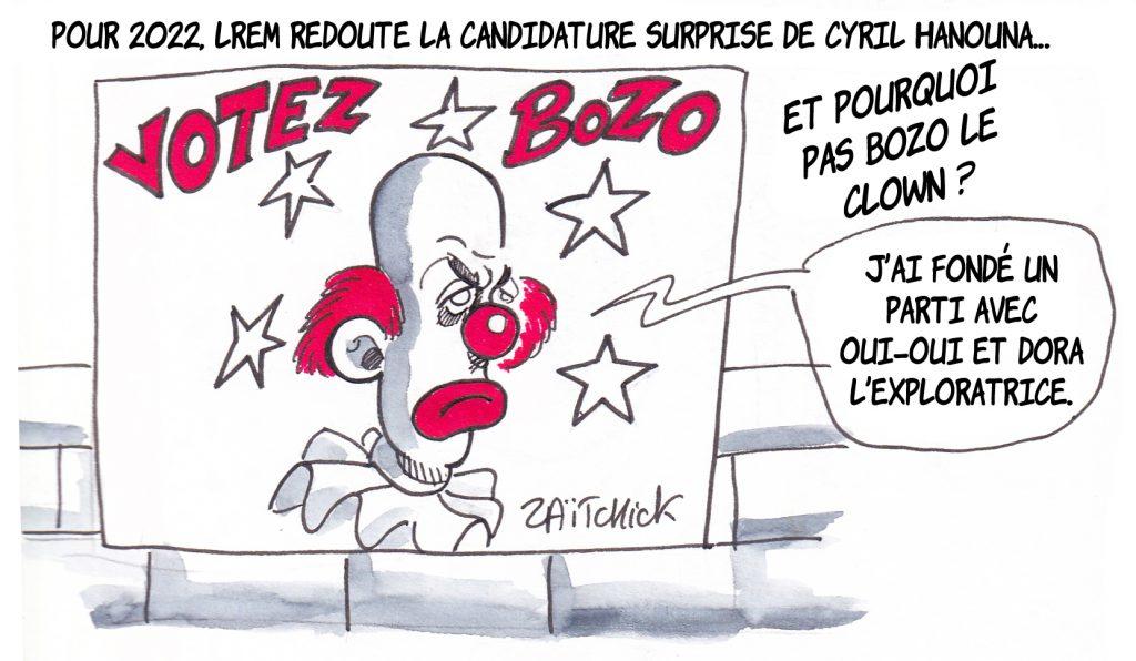dessin de Zaïtchick sur Bozo le clown, candidat à la présidentielle suite à la candidature de Cyril Hanouna
