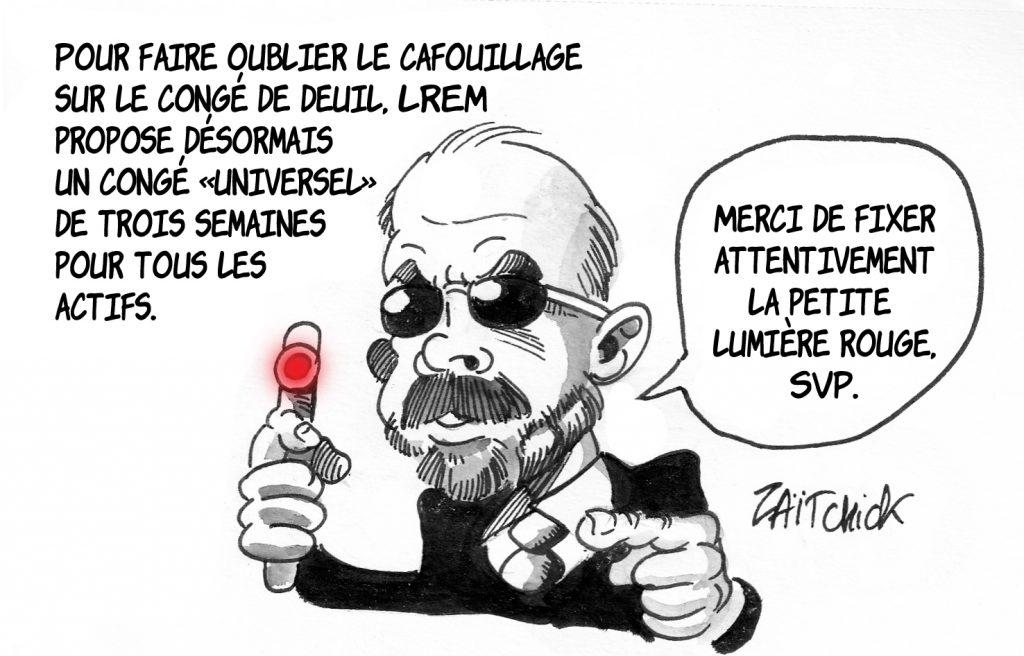 dessin de Zaïtchick sur Édouard Philippe en Man In Black pour faire oublier le cafouillage sur le congé de deuil