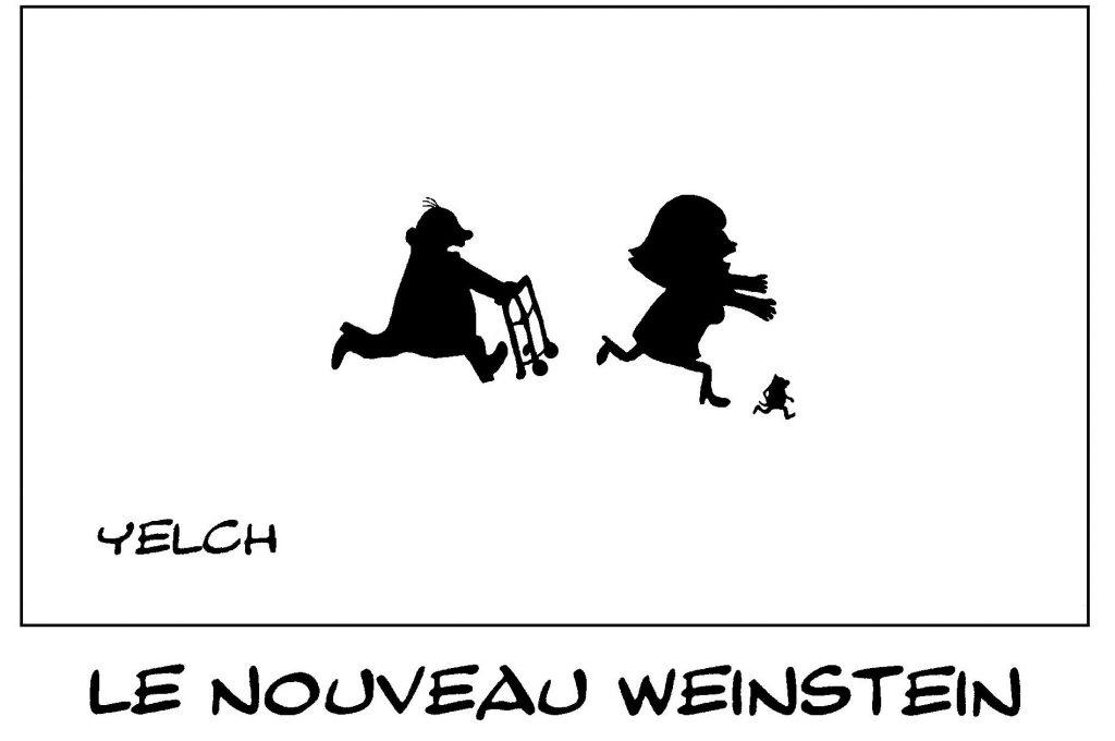 dessin de Yelch sur Harvey Weinstein, le harcèlement sexuel et les agressions sexuelles chez les seniors