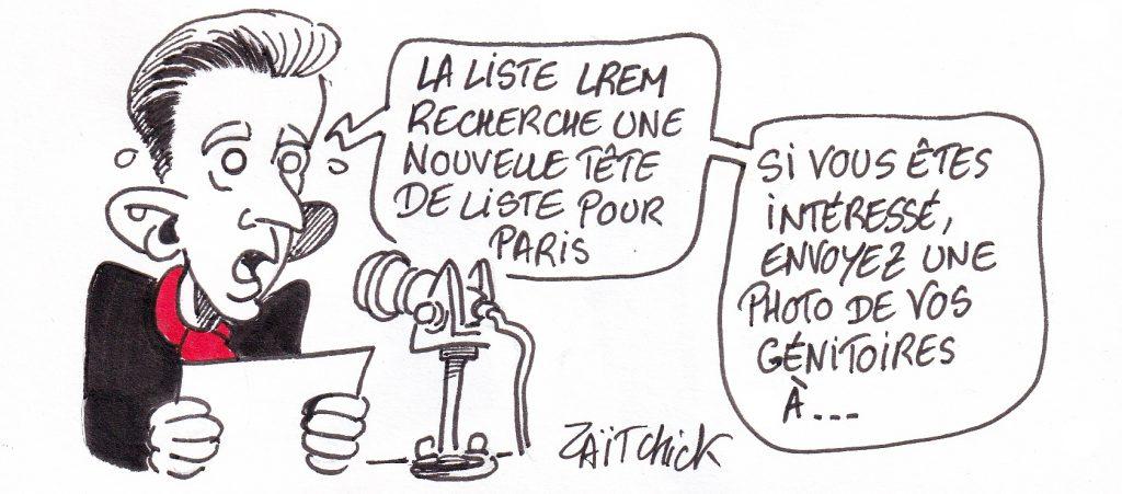 dessin de Zaïtchick sur Christophe Barbier qui lance un appel pour remplacer Benjamin Griveaux après sa démission suite à la diffusion d'une vidéo à caractère sexuelle