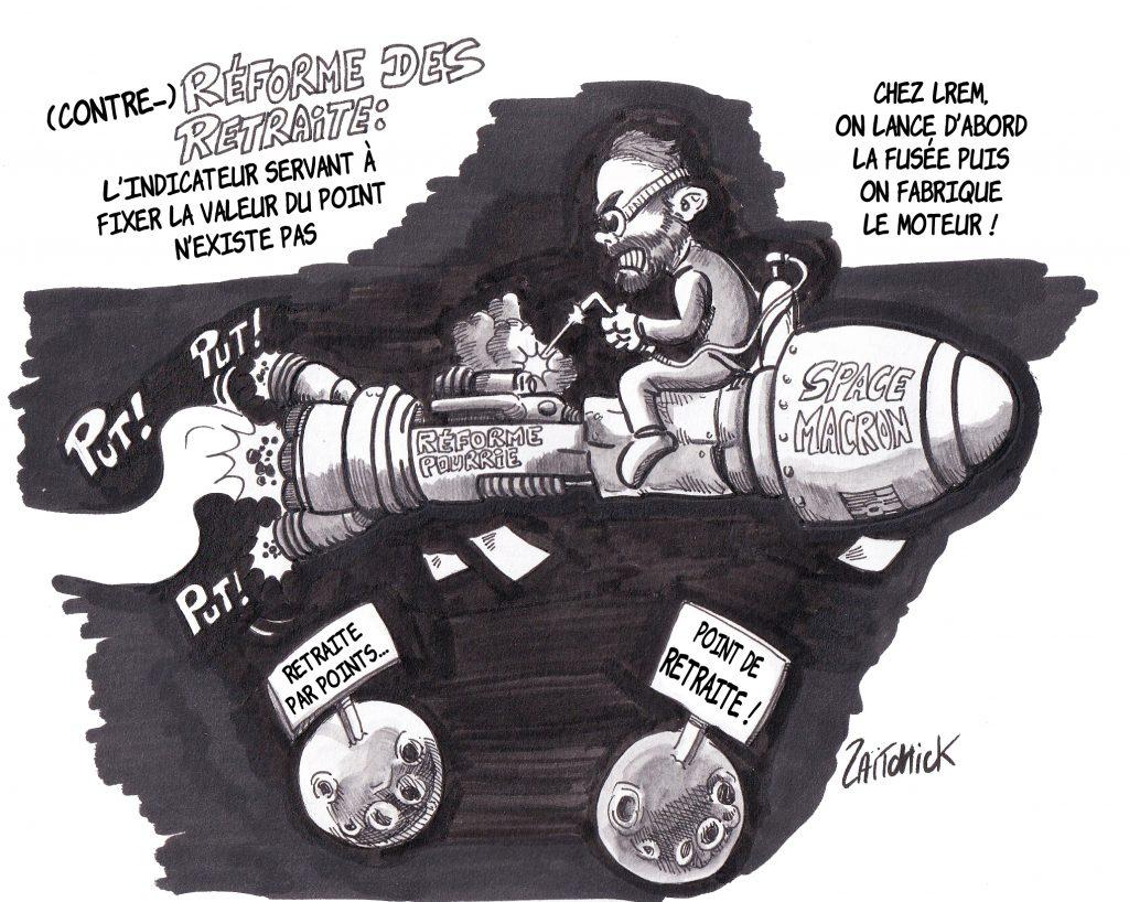 dessin de Zaïtchick sur Édouard Philippe qui tente de fabriquer un moteur sur une fusée en vol comme la LREM réforme la retraite sans préparation aucune
