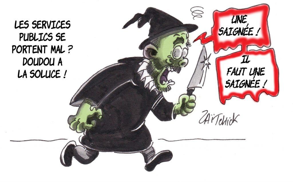dessin de Zaïtchick sur Édouard Philippe en médecin de Molière traitant les problèmes des Services Publics