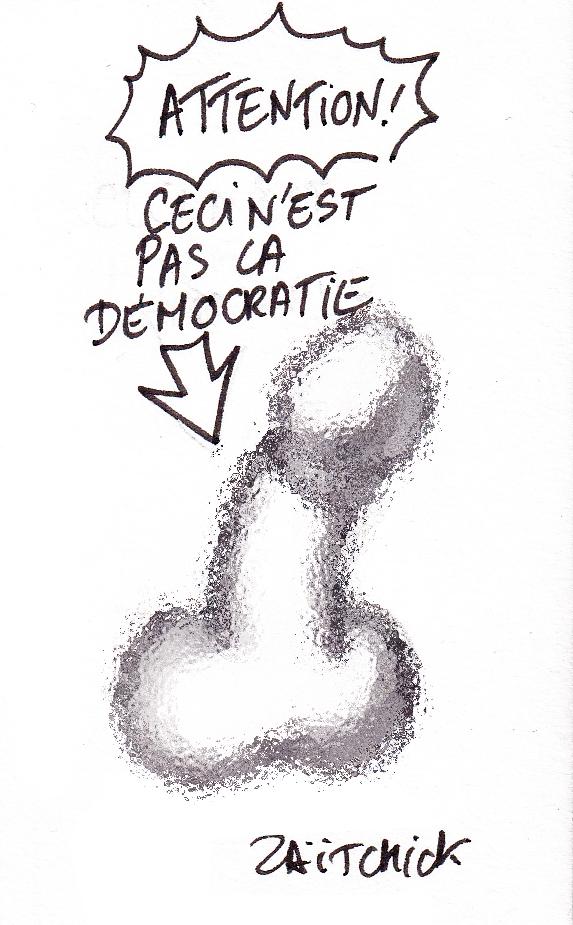 dessin de Zaïtchick sur un pénis qu'on confond avec la démocratie après la démission de Benjamin Griveaux après la diffusion d'une vidéo sexuelle