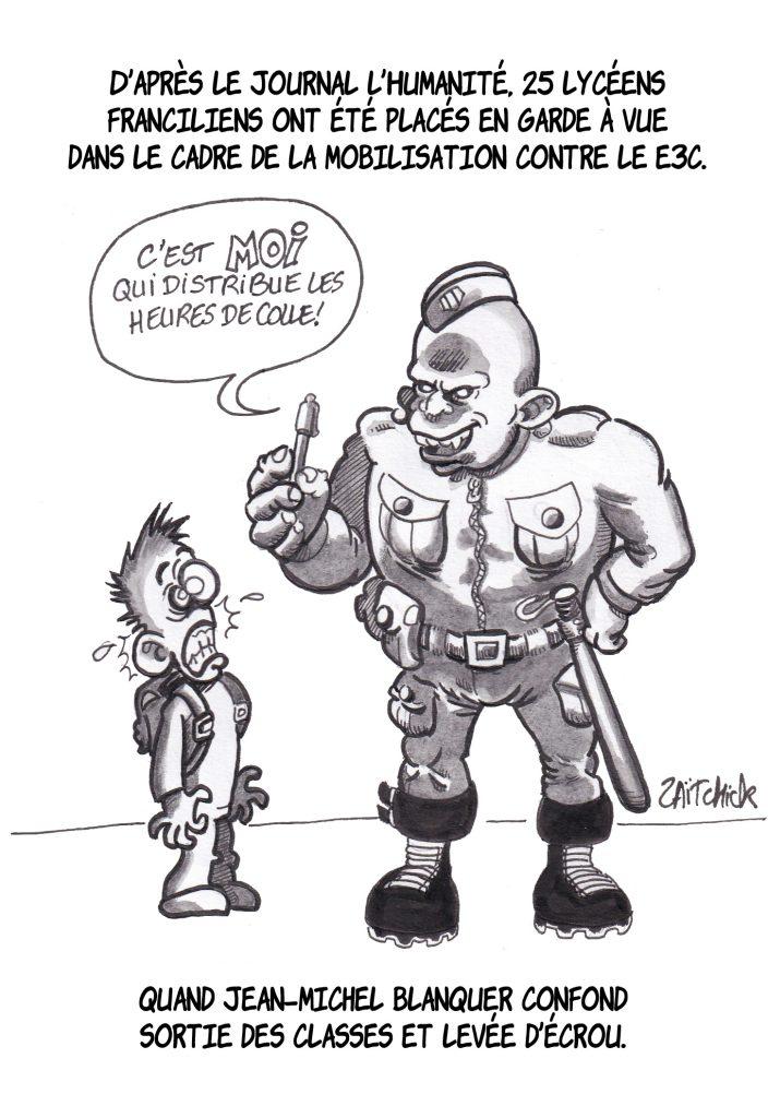 dessin de Zaïtchick sur les policiers qui collent les lycéens et les lycéens placés en garde à vue