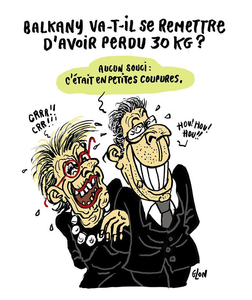 dessin humoristique de Glon sur la libération de Patrick Balkany pour raison de santé et sa perte de poids