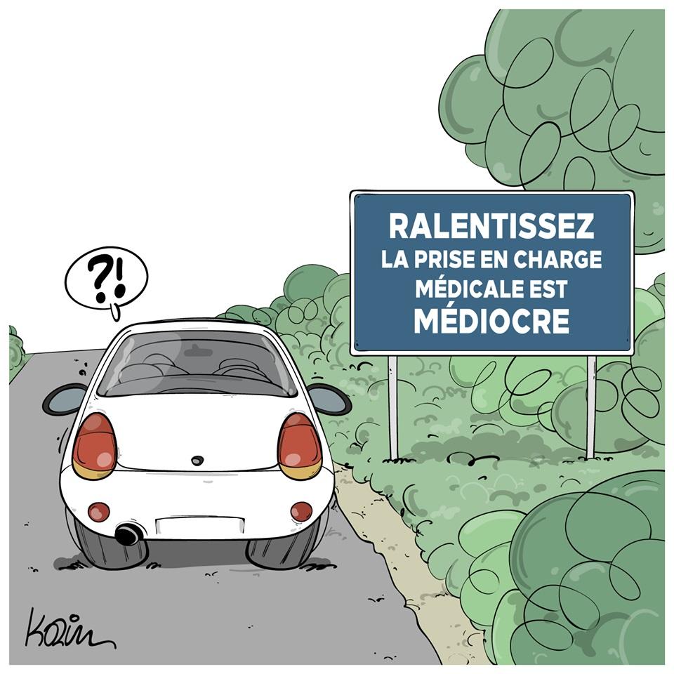 dessin d'actualité humoristique de Karim sur la prise en charge médicale des accidentés de la route