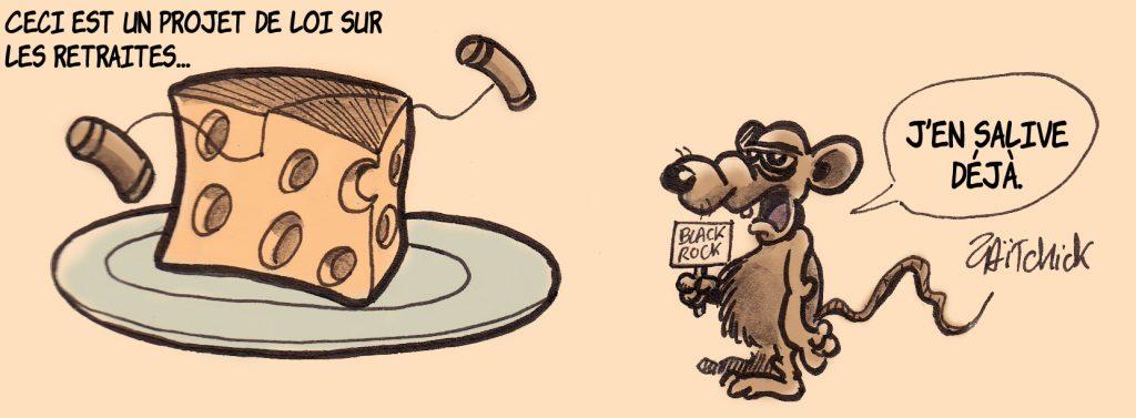dessin de Zaïtchick sur un rat de Black Rock qui salive devant le fromage des retraites