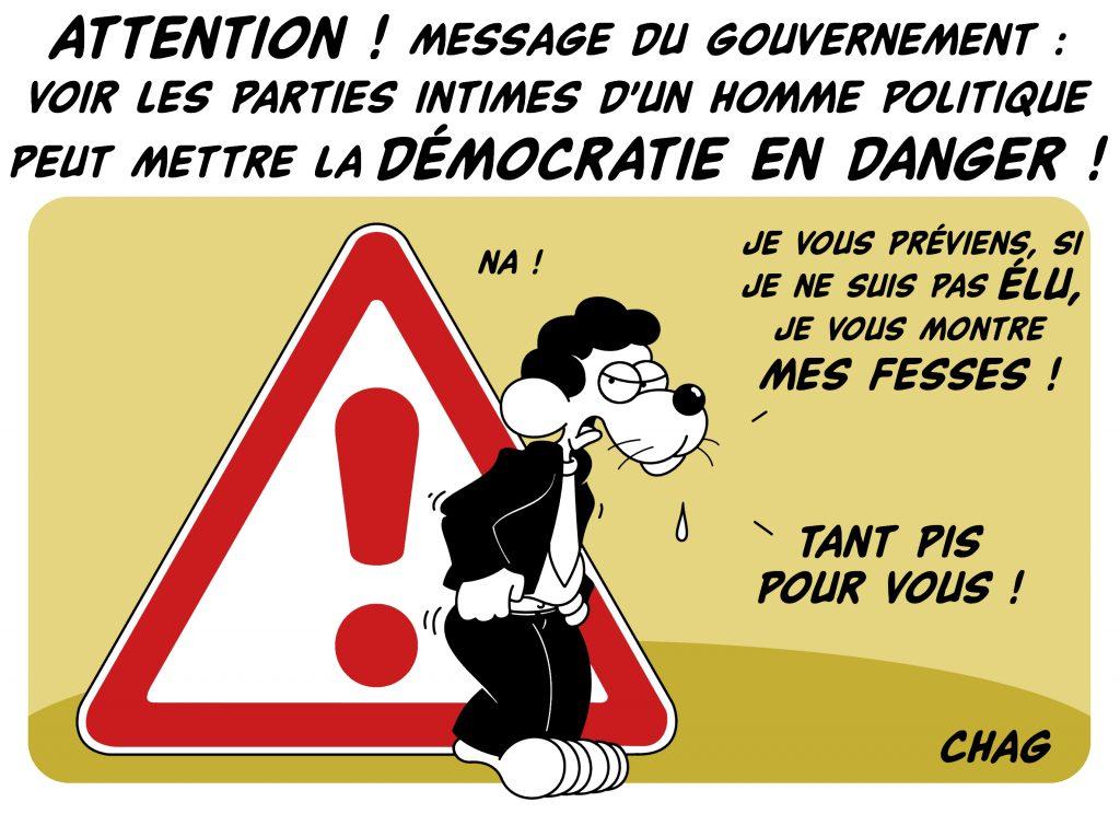 dessin d'humour de Chag sur la démission de Benjamin Griveaux suite à la diffusion d'une vidéo sexuelle