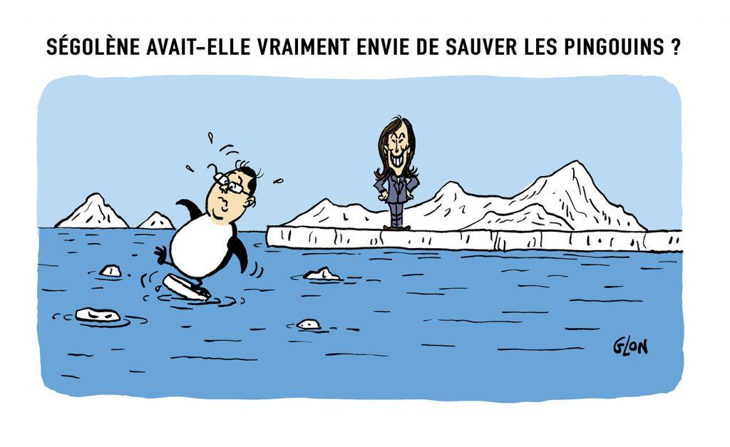 dessin humoristique de Glon sur le licenciement de Ségolène Royal de ses fonctions d'ambassadrice des pôles